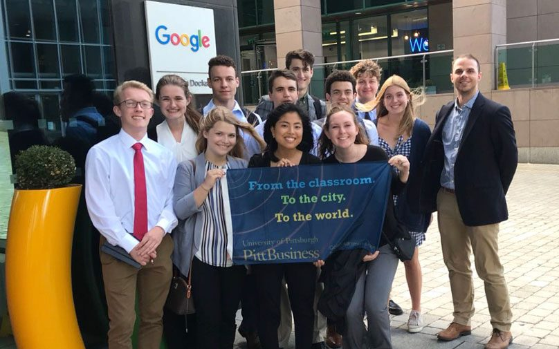 Pitt Business students pose in front of the Google Ireland offices