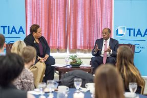 Audrey Murrell and Roger Ferguson talk at his fireside chat
