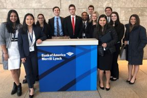 Students at the Bank of America building
