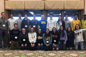 Students pose for a group picture at the Student Organization Retreat event